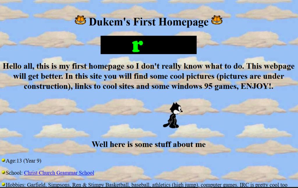 Dukem's First Homepage, original url http://www.geocities.com/TimesSquare/4294/