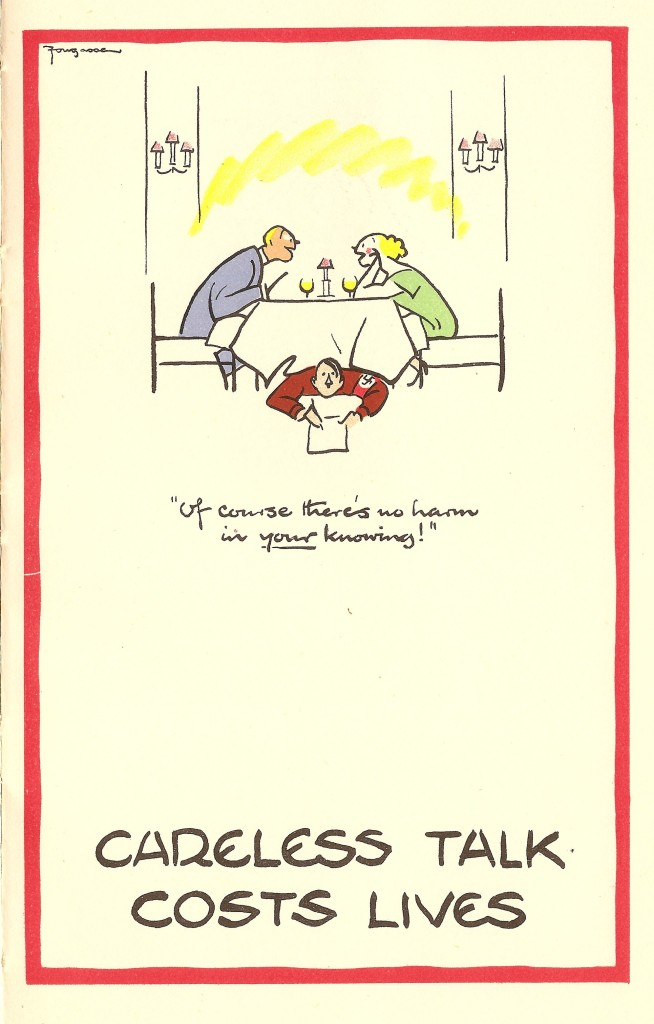 Careless Talk Costs Lives 1 - propaganda poster by Fougasse for the MOI, 1940