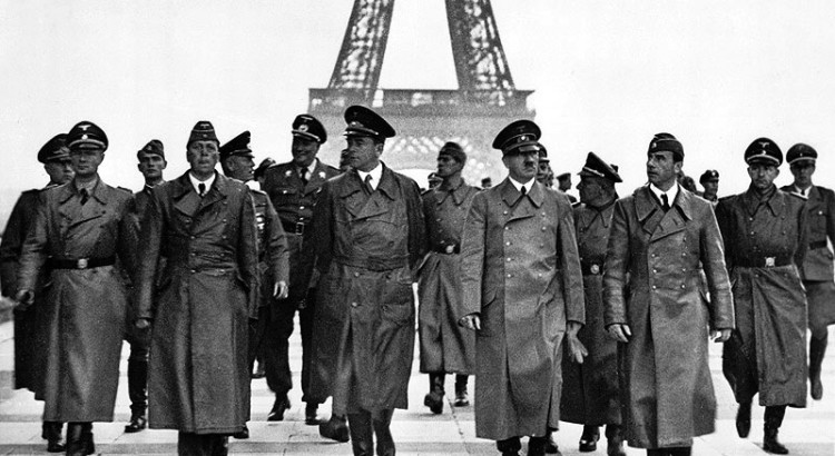 Adolf Hitler and his entourage visiting the Eiffel Tower in Paris on June 23, 1940, following the occupation of France by the Nazis.
