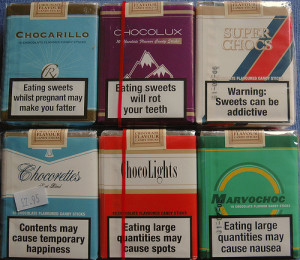 Chocolate cigarettes. Courtesy of 1990toys.com 1970s