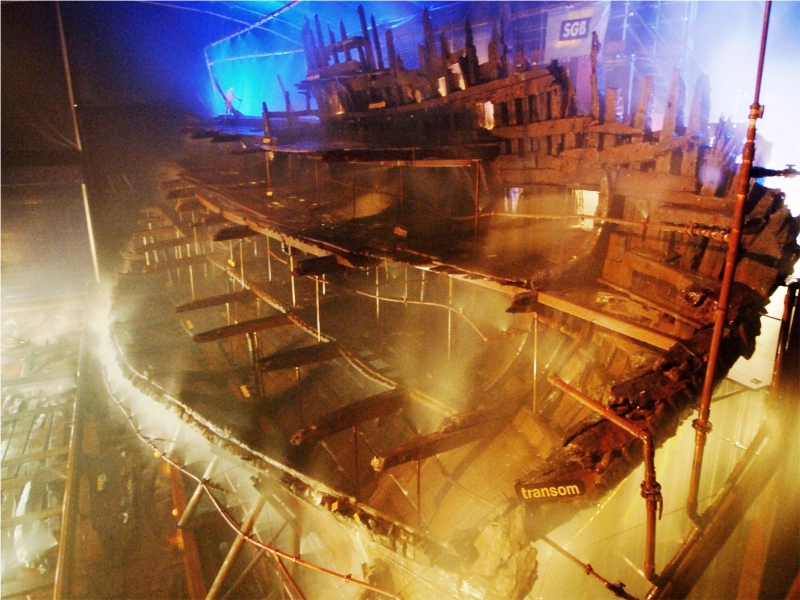 The Mary Rose being sprayed with polyethylene glycol