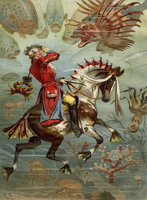 Illustration of Baron Münchhausen underwater by Gottfried Franz 1896