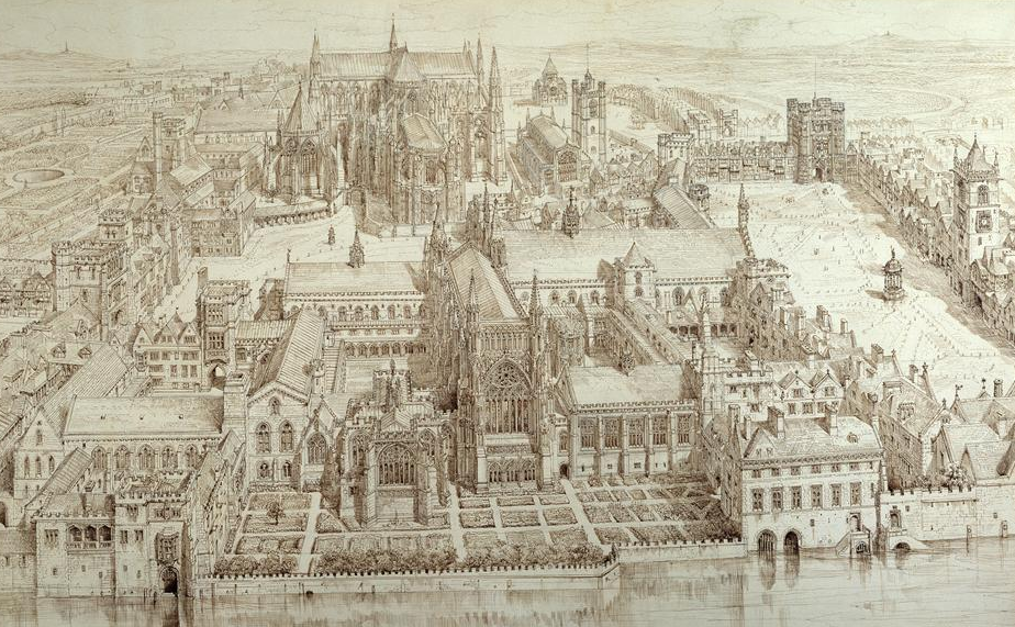 Illustration of the Old Palace of Westminster in the reign of Henry VIII - Henry William Brewer, 1884