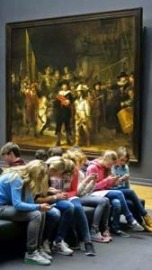 Teenagers at the Rijksmuseum in Amsterdam