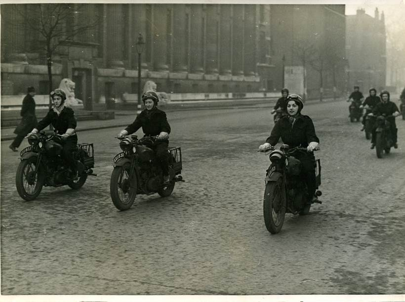 Anne Olivier Bell (far left) with the Motorbike Dispatch Service of the Ministry of Information (Courtesy of Anne Olivier Bell)